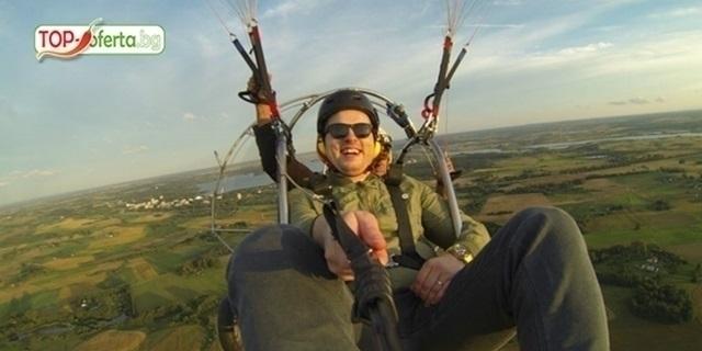 ТОП ОФЕРТА: Тандемен полет с двуместен  парапланер близо до София + видеозаснемане  HD  от клуб Вертикал Дименшън!